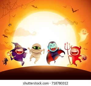 halloween kids costume party group of kids in halloween costume jumping in the moonlight - Halloween Kids Images
