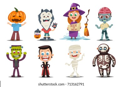 Halloween kids costumes: pumpkin, vampire, werewolf, zombie, witch with a broom, mummy and skeleton. Vector cartoon set of cute boy and girl characters isolated on white background.
