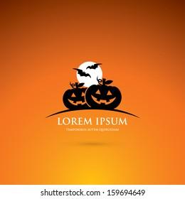 Halloween label with pumpkins - vector illustration