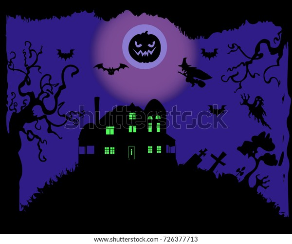 Halloween Landscape Background Stock Vector (Royalty Free