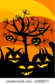 Halloween landscape with pumpkin lanterns and scary tree with hands