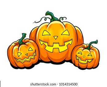Halloween lantern pop art retro vector illustration. Isolated image on white background. Symbol Pumpkin. Comic book style imitation.