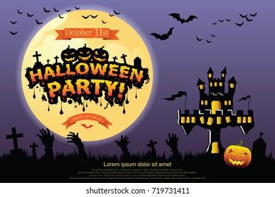 Halloween lettering Halloween Party.