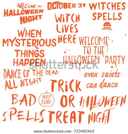 Halloween Lettering Phrases Overlay Set Scary Vector de stock (libre ...