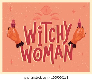 Halloween lettering poster in vintage style. Witch's hands with magic potions. Flat vector illustration.