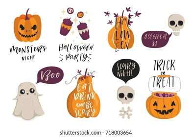 Halloween lettering set with cute holiday elements. Pumpkins, cupcakes, ghost, skuls. Typographic design Vector illustration