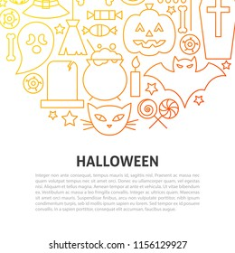 Halloween Line Concept. Vector Illustration of Outline Template.