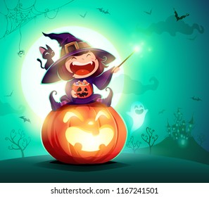 Halloween little witch. Girl kid in Halloween costume sits on a giant pumpkin. Magic wand and candies on hand.
