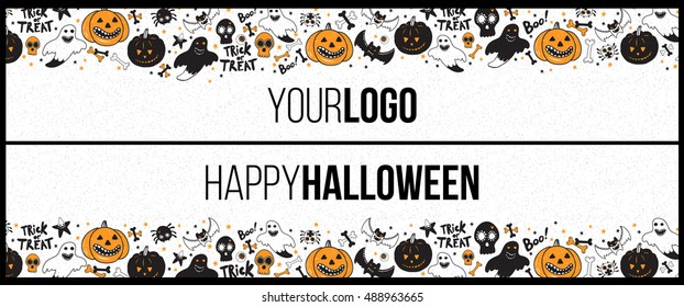 Halloween long horizontal banner for top and bottom of web site. Frame for party poster, flyer, card design with typography. Funny vintage concept with hand drawn illustration.