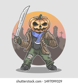 halloween mascot killer with machete illustration vector