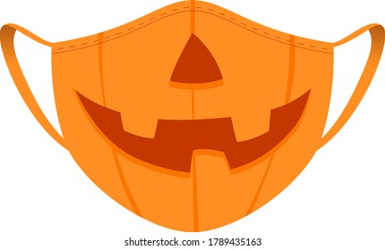 Halloween mask - covid-19 medical mask with funny design - pumpkin with nose and smile. Holiday costume vector illustration.