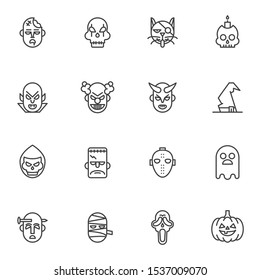 Halloween mask line icons set. linear style symbols collection outline signs pack. vector graphics. Set includes icons as monster, skull, pirate cat, crazy clown, dracula devil, witch hat, mummy ghost