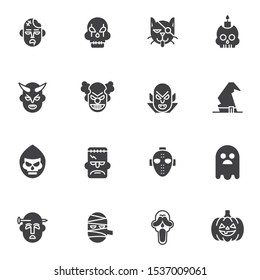 Halloween mask vector icons set, modern solid symbol collection, filled style pictogram pack. Signs, logo illustration. Set includes icons as monster, skull, pirate cat, crazy clown, dracula devil