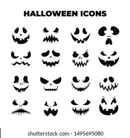 Halloween Masks. Smiling faces. Pumpkin smile. Vector