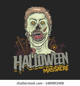 halloween massacre zombie head illustration vector