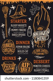Halloween menu with holiday decorations on a chalkboard vector illustration brochure for witch, costumes, horror food party. Design template with vintage lettering and hand-drawn graphic elements.
