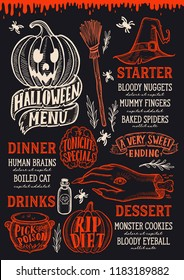 Halloween menu with holiday decorations on a blackboard vector illustration brochure for witch, costumes, horror food party. Design template with vintage lettering and hand-drawn graphic elements.