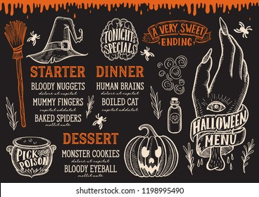 Halloween menu with holiday elements on a blackboard vector illustration brochure for witch, costumes, horror food party. Design template with vintage lettering and hand-drawn graphic, pumpkin, zombie