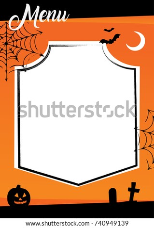 halloween menu template orange background decorations stock vector