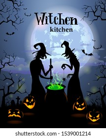 Halloween Menu Template - Two witches cook potion. Possible to create menu cover or invitation