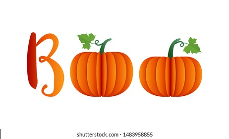 Halloween message Boo isolated on white background illustration vector