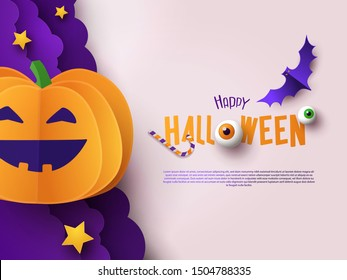 Halloween modern minimalistic design template for Website, greeting or promo banner, flyer, poster in paper cut style with cutest pumpkin and other traditional Halloween elements on light background.