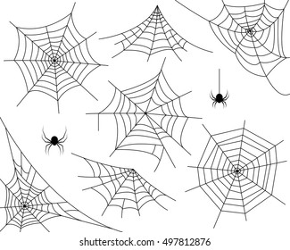 Halloween monochrome spider web and spiders isolated on white background. Hector venom cobweb set. Vector illustration