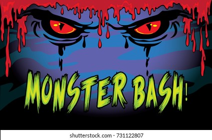Halloween Monster Bash sign with scary eyes and dripping blood