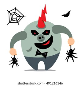 Halloween Monster, Catcher spiders Vector Cartoon Illustration.
