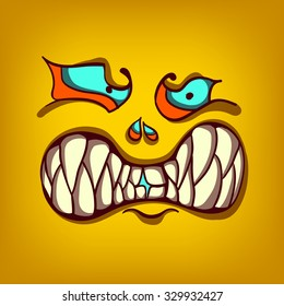 halloween monster, hand-drawing vector illustration, face square avatar,  pumpkin beast, smiley face icon