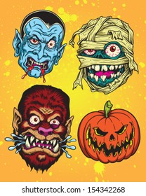 Halloween Monster Head Vector Set