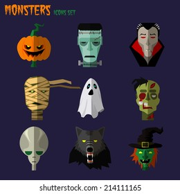 Halloween monster set of icons pumpkin, ghost Dracula zombi werewolf Frankenstein's monster alien mummy
