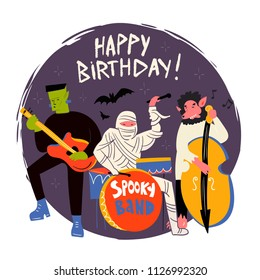 halloween monsters music band hand drawn vector illustration happy birthday greeting card