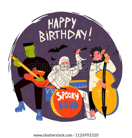 Halloween Monsters Music Band Hand Drawn Vector Illustration Happy Birthday Greeting Card