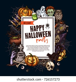 Halloween monsters party poster for trick or treat holiday night celebration. Vector sketch pumpkin lantern, zombie or skeleton skull in coffin, spooky Halloween ghost on graveyard tombstone.