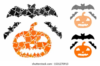 Halloween mosaic of humpy pieces in variable sizes and color tinges, based on halloween icon. Vector tuberous pieces are grouped into collage. Halloween icons collage with dotted pattern.