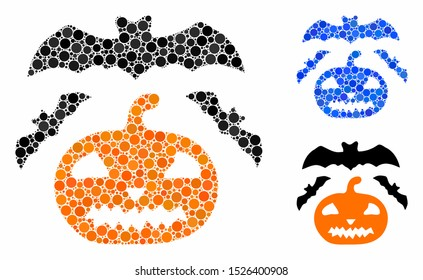 Halloween mosaic for halloween icon of round dots in various sizes and shades. Vector round dots are composed into blue collage. Dotted halloween icon in usual and blue versions.