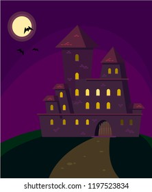 Halloween. Mysterious gloomy castle with the moon and bats. Vector.