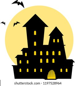 Halloween. Mysterious gloomy castle with moon. Vector.