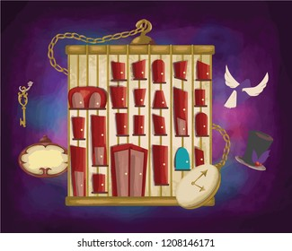 Halloween mystery conceptual birdcage  with doors wing book magic hat key and clock in dark purple background illustration style