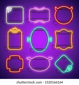 Halloween neon frames set in gothic horror style with spider web, bones, pumpkin and ghost. Greeting card template. Vector clip art great for your holiday projects in retro-futuristic cartoon style.