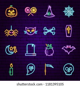Halloween Neon Icons. Vector Illustration of Trick or Treat Scary Symbols.