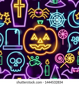 Halloween Neon Seamless Pattern. Vector Illustration of Holiday Promotion.