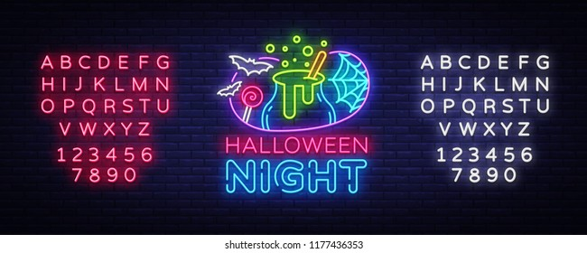 Halloween neon sign vector. Halloween Night Design template and web for banner, poster, greeting card, party invitation, light banner. Isolated illustration. Editing text neon sign
