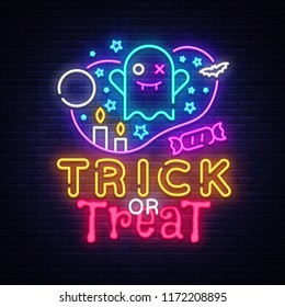 Halloween neon sign vector. Trick or treat Halloween Design template with ghost and web for banner, poster, greeting card, party invitation, light banner. Isolated illustration