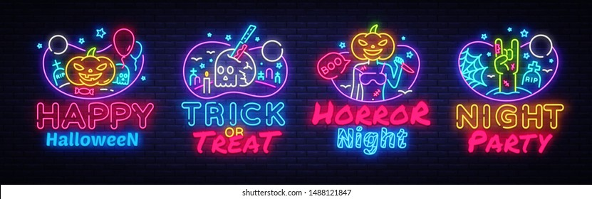 Halloween Neon signs set Vector. Halloween neon icons collection, design template, modern trend design, night signboard, night bright advertising, light banner, light art. Vector illustration