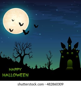 Halloween night background with castle and bats .Vector illustration