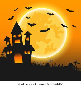 Halloween night background with creepy castle, bats, cemetery and the moon, Vector illustration design graphic