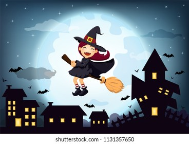 Halloween night background with cute Witch and Black silhouette house on the full moon. Blank space for text and content. Vector elements for banner, greeting card, celebration, party poster