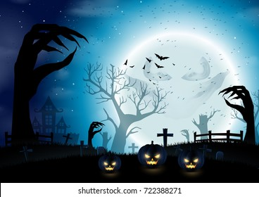 Halloween night background with dark trees of hands shape on full moon.Vector illustration.